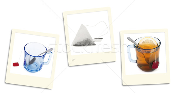 Stok fotoğraf: çay · fotoğrafları · eski · stil · beyaz · film