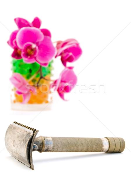 Stock fotó: Borotva · öreg · orchidea · fehér · virág