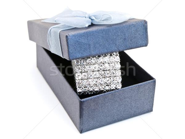 Pulsera cuadro caja de regalo joyas cumpleanos regalo Foto stock © SRNR