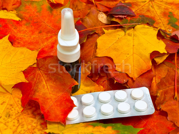 autumn leaves and medicament Stock photo © SRNR