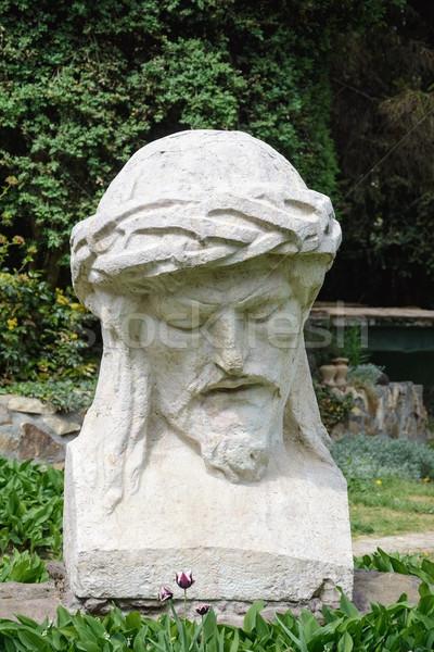 Sculpture portrait homme jardin rétro statue Photo stock © SRNR