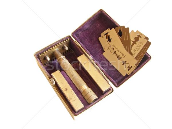 Borotva doboz öreg fém penge Stock fotó © SRNR