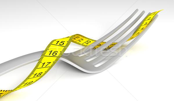 çatal uygunluk yağ beyaz ağırlık Stok fotoğraf © SSilver