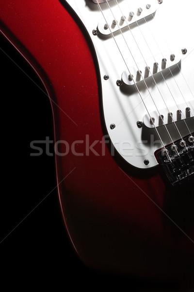 Vermelho guitarra madeira concerto preto retro Foto stock © SSilver