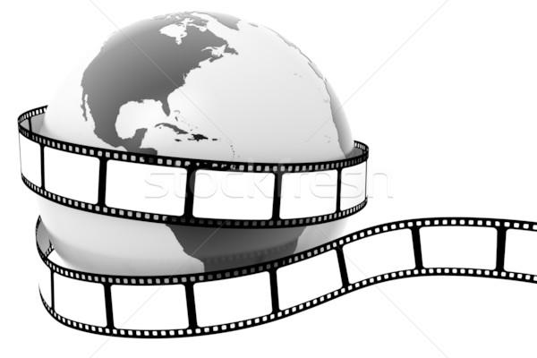 Toprak film dünya harita çerçeve siyah Stok fotoğraf © SSilver