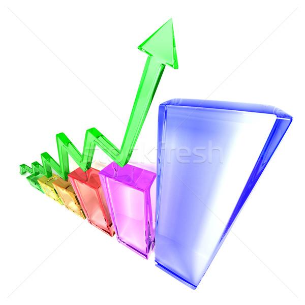 グラフ デザイン ガラス オレンジ 青 市場 ストックフォト © SSilver