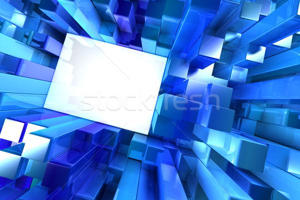 Parlak mavi bloklar soyut ışık dizayn Stok fotoğraf © SSilver
