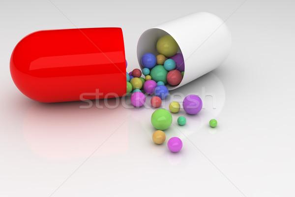 таблетки медицинской здоровья фон медицина красный Сток-фото © SSilver