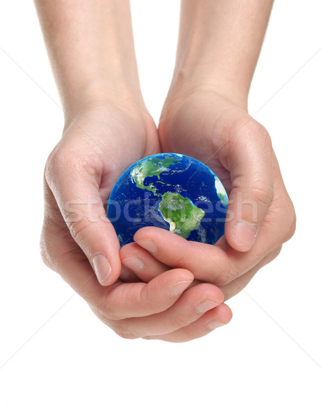 Stock photo: Hands holding earth