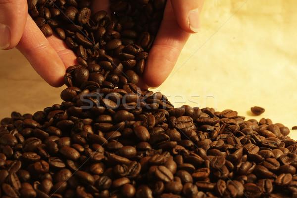 Mão grãos de café café cor café da manhã Foto stock © SSilver