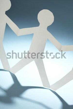 Kâğıt insanlar toplantı ışık temas mavi Stok fotoğraf © SSilver