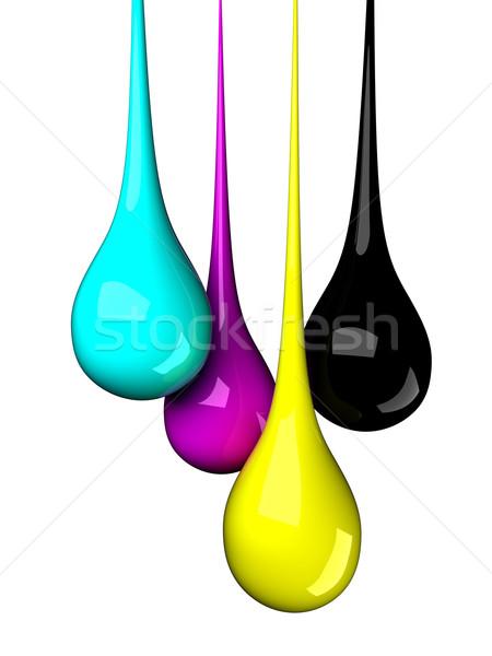 Stockfoto: Druppels · water · abstract · Blauw · print · zwarte