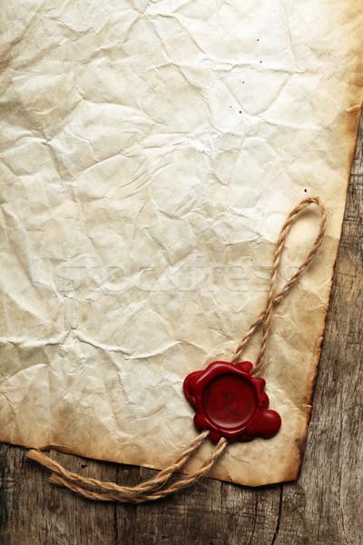 Oude blanco papier zegel hout frame ruimte Stockfoto © SSilver