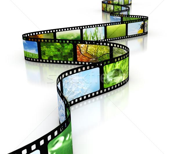 Foto stock: Filme · projeto · quadro · preto · branco