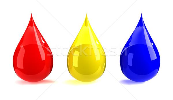 Vermelho amarelo azul gotas projeto pintar Foto stock © SSilver