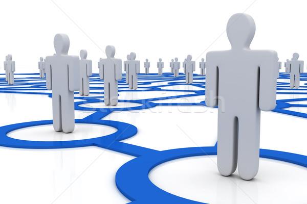 Pessoas rede internet abstrato multidão azul Foto stock © SSilver