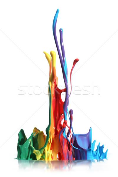 Colorido pintar isolado branco abstrato Foto stock © SSilver