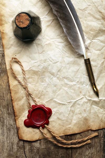 Papel em branco cera selar nosso madeira caneta Foto stock © SSilver