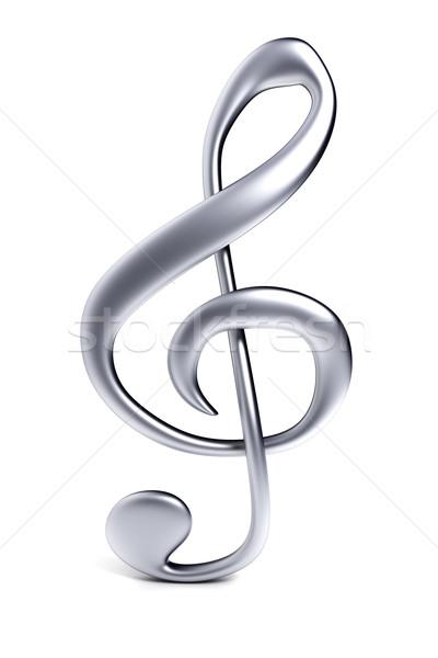 Klucz wiolinowy kluczowych Uwaga audio obiektu srebrny Zdjęcia stock © SSilver