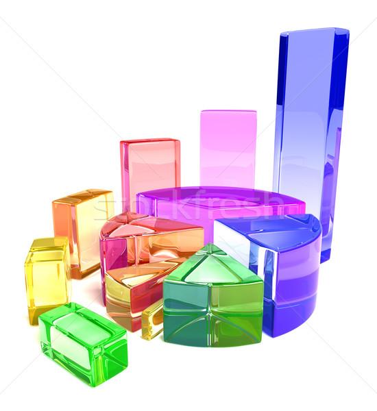Traçar dinheiro projeto vidro azul mercado Foto stock © SSilver