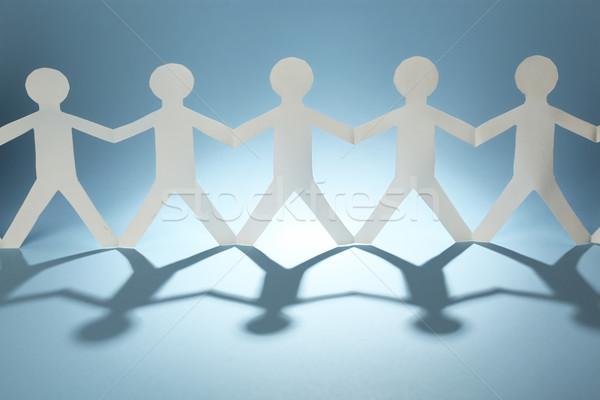 Papel pessoas reunião luz contato azul Foto stock © SSilver