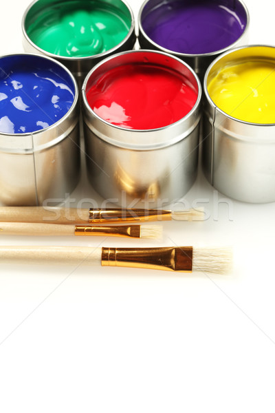 Pintar pincéis fundo metal verde branco Foto stock © SSilver