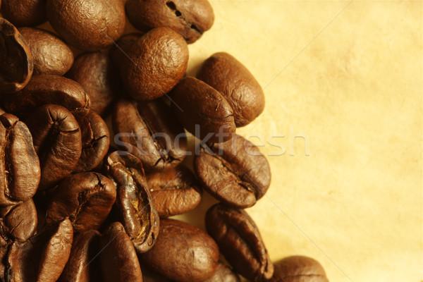 Kahve çekirdekleri kâğıt arka plan uzay kafe renk Stok fotoğraf © SSilver