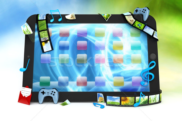 Tablet computer with movies, music, and games Stock photo © SSilver