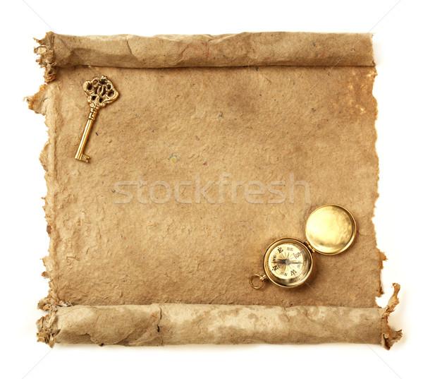 El yapımı kâğıt ilerleyin anahtar pusula harita Stok fotoğraf © SSilver