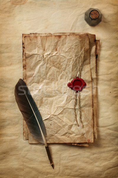 Blank paper with wax seal, quill & ink Stock photo © SSilver