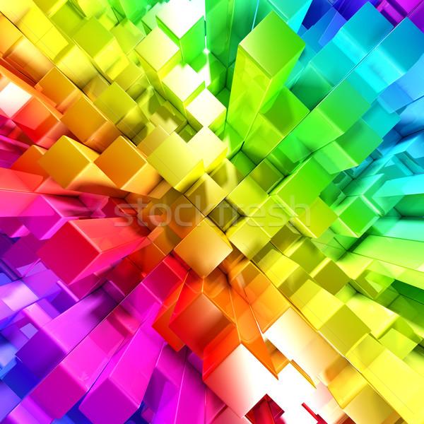 Arco-íris colorido blocos abstrato luz projeto Foto stock © SSilver