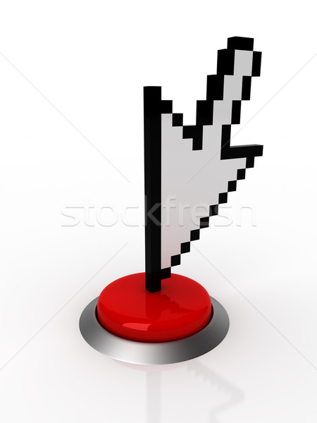 3D курсор красный кнопки компьютер Сток-фото © SSilver