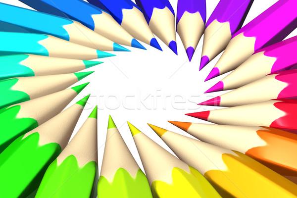 Gökkuşağı renkli kalemler ahşap soyut arka plan Stok fotoğraf © SSilver