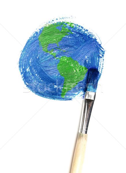 Boyalı toprak deniz dünya boya arka plan Stok fotoğraf © SSilver