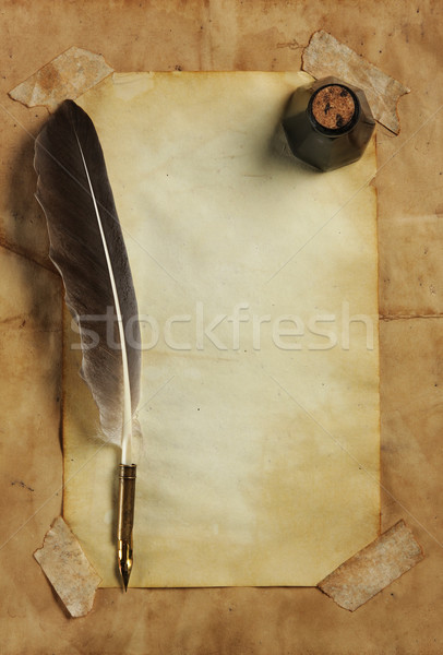 Old paper with quill & ink Stock photo © SSilver
