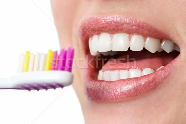 Sağlıklı dişler diş fırçası gülümseme kadın ağız Stok fotoğraf © Steevy84