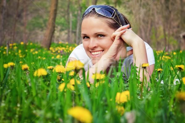çiçekler güzel bir kadın zemin bahar çiçekleri çiçek kız Stok fotoğraf © Steevy84