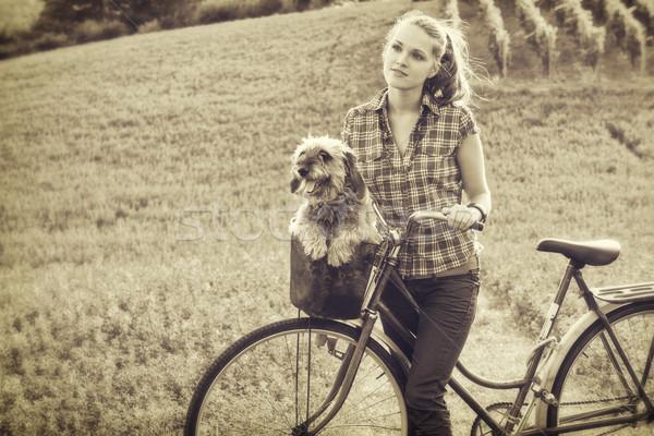 друзей Vintage стиль фото девушки собака Сток-фото © Steevy84