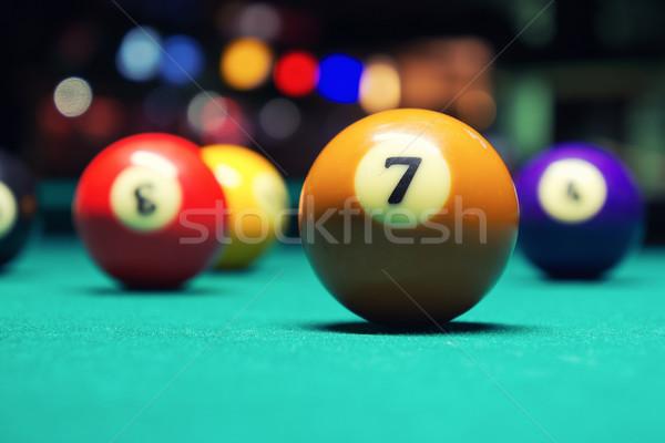 Billard Kugeln Jahrgang Stil Foto Billardtisch Stock foto © Steevy84