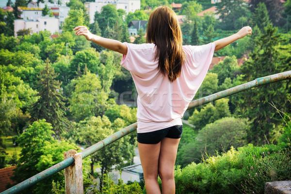 özgürlük genç kadın ayakta yükseklik tadını çıkarmak görmek Stok fotoğraf © Steevy84