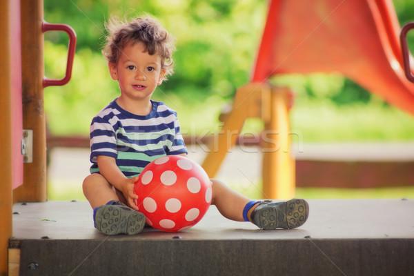 Stockfoto: Weinig · jongen · spelen · speeltuin · zomertijd