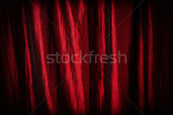 Tiyatro perde kırmızı saten soyut karanlık Stok fotoğraf © Steevy84