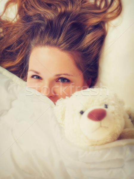 Kız yatak odası genç kadın ev yüz kadın Stok fotoğraf © Steevy84