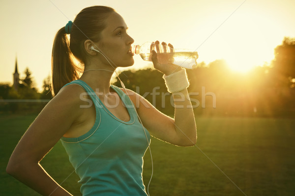 Doing Sport in the sunset Stock photo © Steevy84