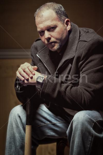 Kötü adam bağbozumu stil portre adam Stok fotoğraf © Steevy84