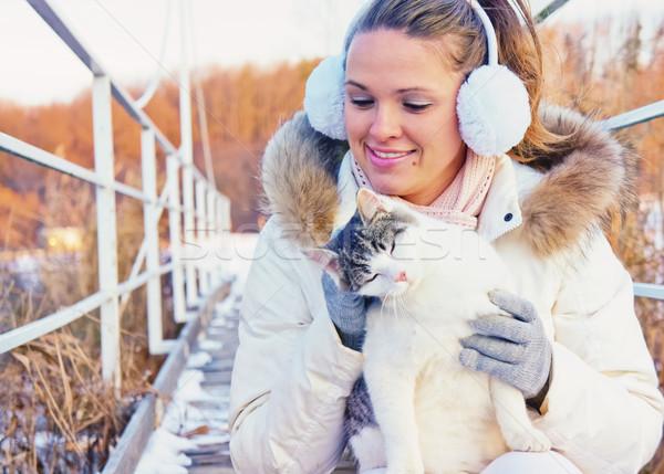 Kadın oynama kedi güzel Stok fotoğraf © Steevy84