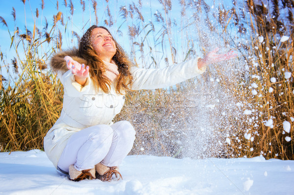 Woman playing with snow Stock photo © Steevy84