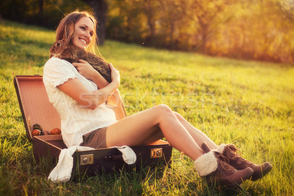 Dostluk easter bunny bağbozumu stil fotoğraf güzel Stok fotoğraf © Steevy84