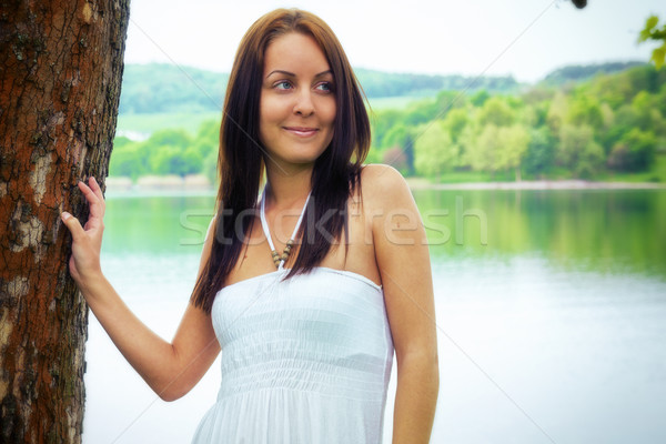 Beauty in white dress Stock photo © Steevy84