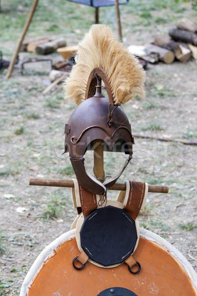 Copiar antigo capacete romano fundo metal Foto stock © stefanoventuri
